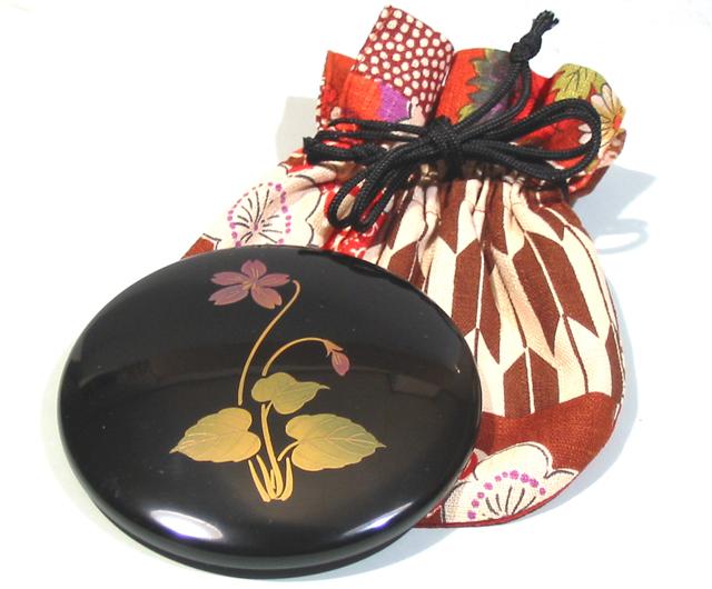 プチ手鏡 誕生花 巾着袋付き