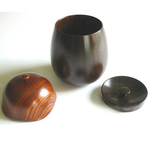 茶入れ 欅 茶筒 木製 漆塗り