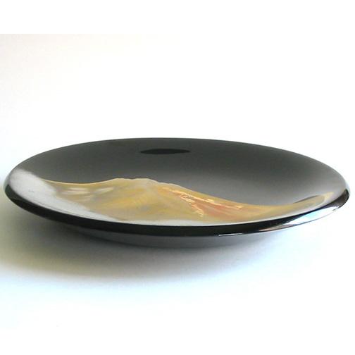 飾り皿 黒 金富士 木製漆塗り 絵皿