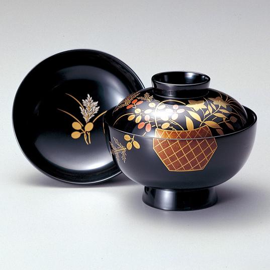 吸物椀 花器 黒 5客セット 【送料無料】 木製 漆塗り