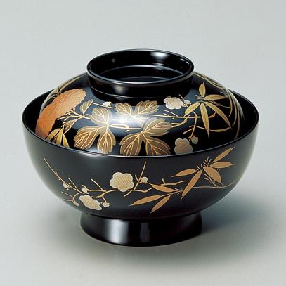 煮物椀 四君子 黒 【送料無料】 漆塗り・木製