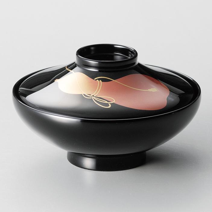 煮物椀 瓢 富士型 黒 5客セット 【送料無料】 漆塗り