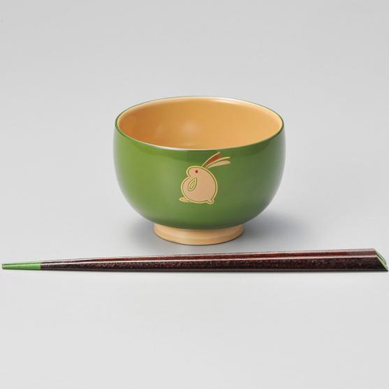 子供汁椀 若草/ピンク うさぎ ハート箸付 漆塗り