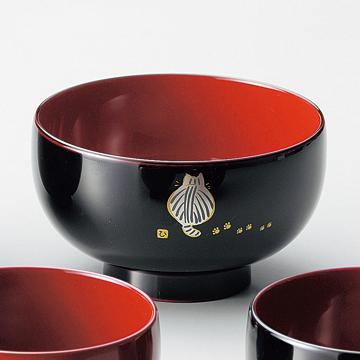 汁椀 朱/溜 ネコ 漆塗り