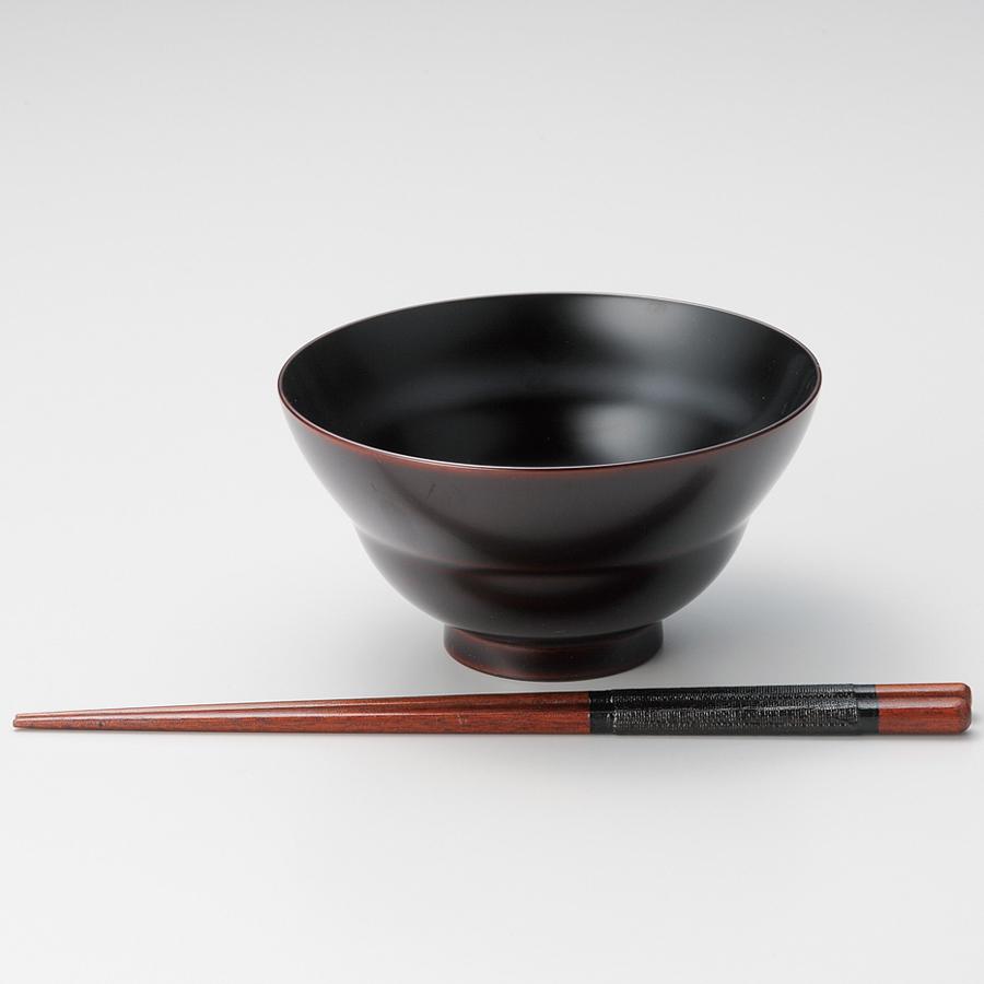 飯椀 ひさご椀 箸付き ギフトセット 溜 【送料無料】 漆塗り・木製