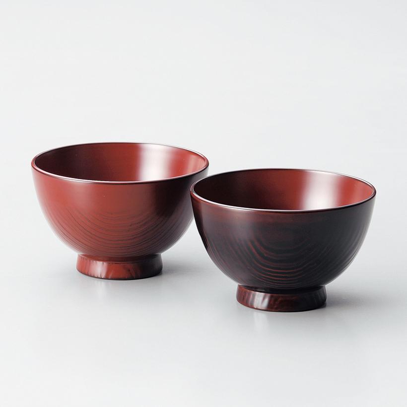 夫婦汁椀 栗 古代朱・溜 【送料無料】 2客セット 木製 漆塗り