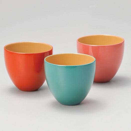 うるしカップ 洗朱・ブルー・ピンク 3個組 漆塗り