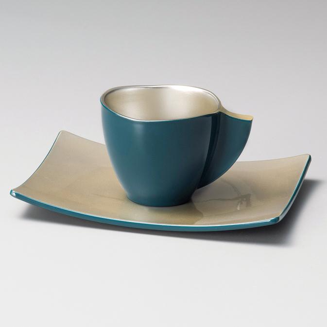 コーヒーカップ・ソーサー付き いろらら 青 漆塗り
