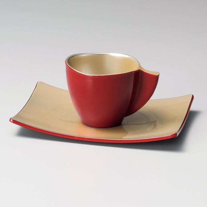 コーヒーカップ・ソーサー付き いろらら 朱 漆塗り