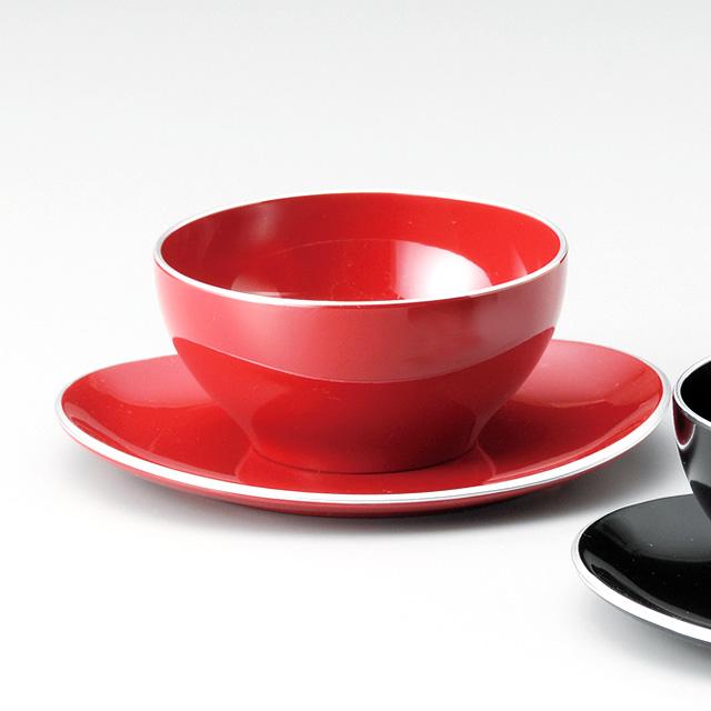 デザートカップ&ソーサー 銀ライン 朱