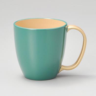 マグカップ 持ち手金 ブルー内白