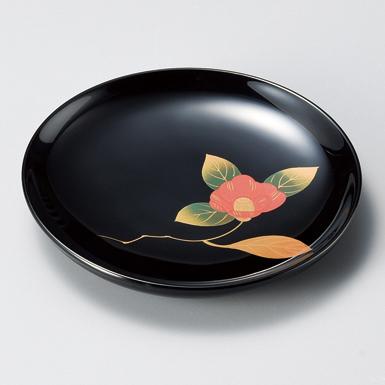 銘々皿 椿 黒 5枚セット 【送料無料】 木製 漆塗り