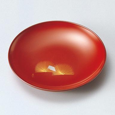 銘々皿 沈金 末広松 古代根来 5枚セット 【送料無料】木製漆塗り 取り皿・小皿