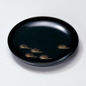 銘々皿 沈金松 黒 5枚セット 【送料無料】 木製 漆塗り