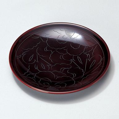 銘々皿 牡丹彫 溜 5枚セット 【送料無料】 漆塗り