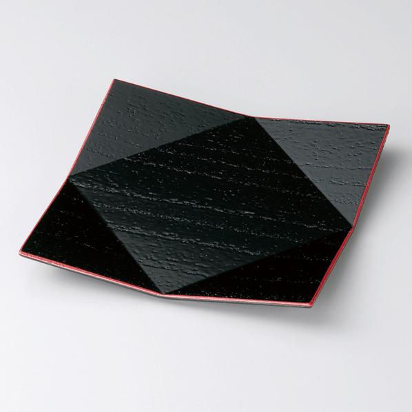 銘々皿 桐菱折 渕朱 5枚セット 木製ト