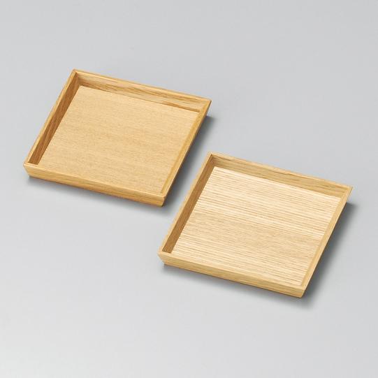 銘々皿 3.3 白木塗 タモ ペア2枚組 木製