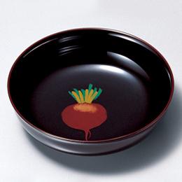 羽反小皿 野菜絵変わり 溜・朱 5枚セット 【送料無料】 漆塗り 取り皿・小皿