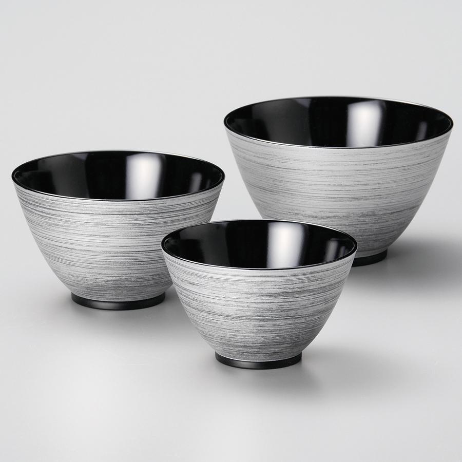 三つ組鉢 銀刷毛 黒