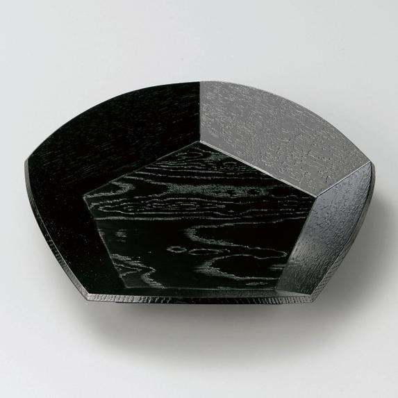 梅型菓子鉢 黒 木製
