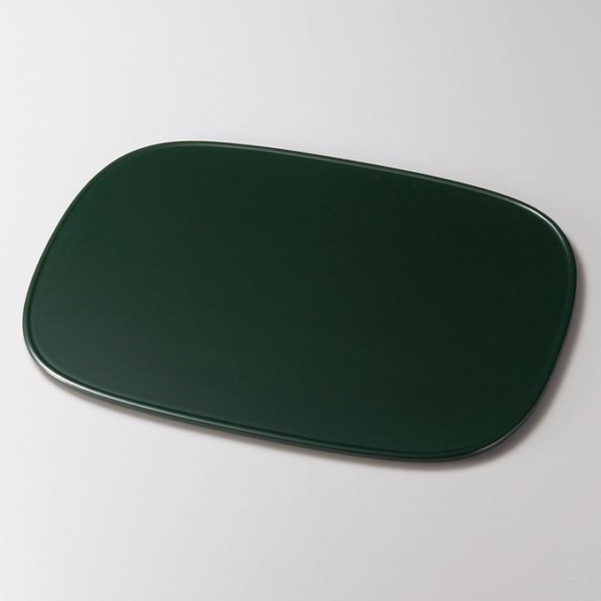 平膳 渕付小判 緑 【送料無料】 木製 漆塗り ランチョンマット・折敷