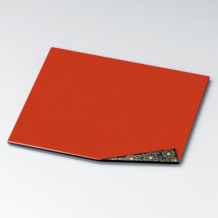 折曲膳 菊唐草 洗朱 【送料無料】 木製 漆塗り ランチョンマット・折敷