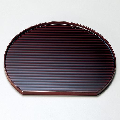 半月膳 12.0 かんな目 溜 【送料無料】 木製 ランチョンマット・折敷