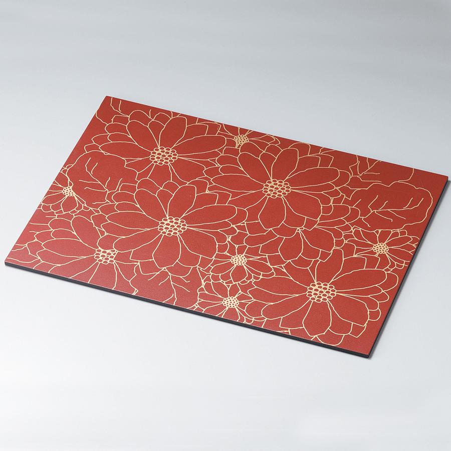 花柄ランチョンマット 赤・金 折敷