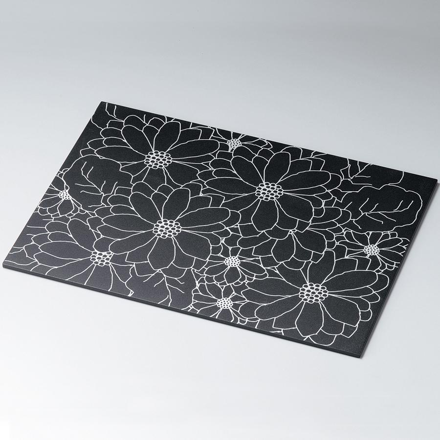 花柄ランチョンマット 黒・銀 折敷