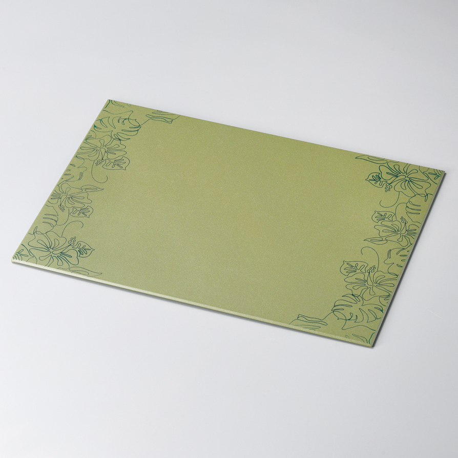 テーブルマット ハイビスカス 草色 ランチョンマット・折敷