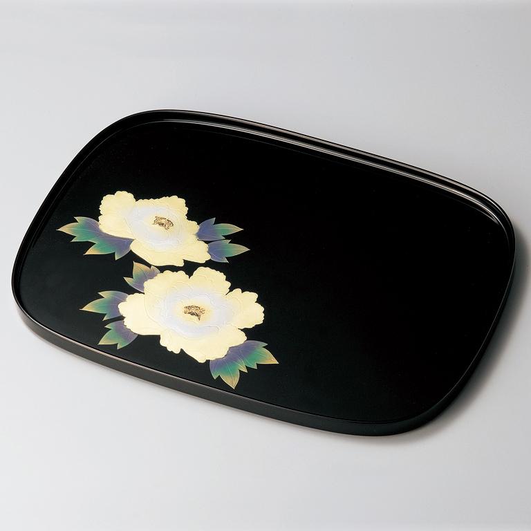 小判盆 12.0 牡丹沈金 黒 【送料無料】 木製 漆塗り