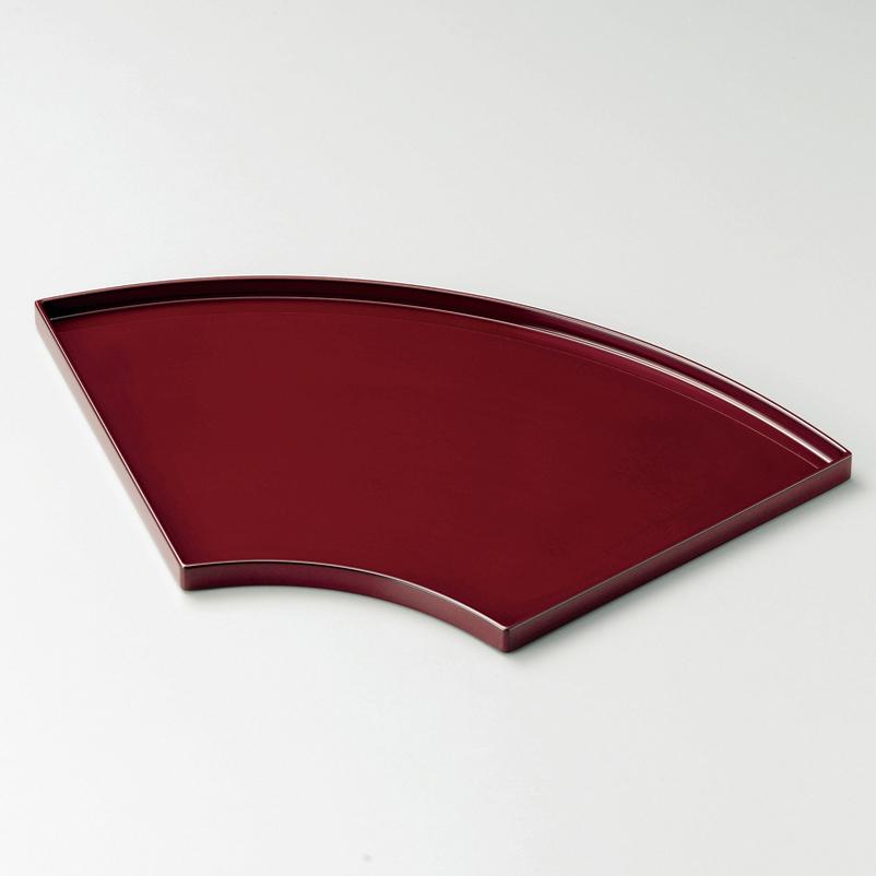 扇面盆 13.0 吟朱 【送料無料】 木製 漆塗り