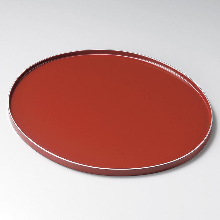オーバル盆 12.0 銀彩 朱 【送料無料】 木製 漆塗り