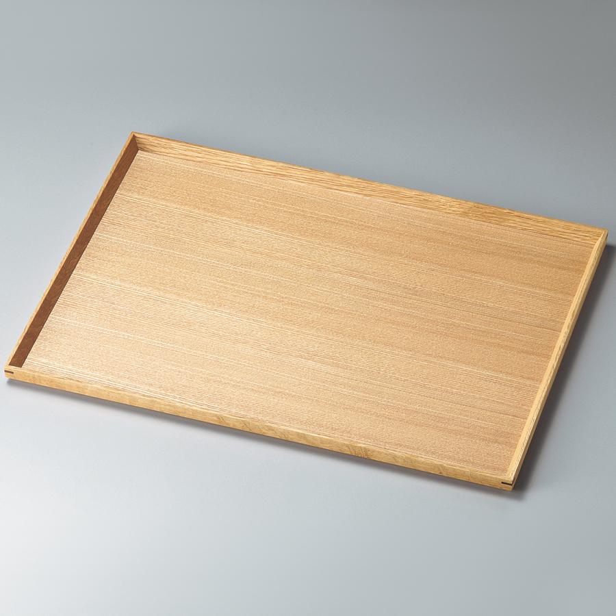 長角盆 13.0 白木塗 タモ 木製