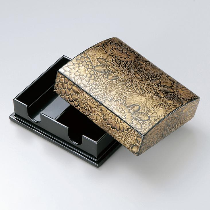 名刺箱 沈金菊彫 大 黒 【送料無料】 木製 漆塗り 名刺入れ・名刺ケース