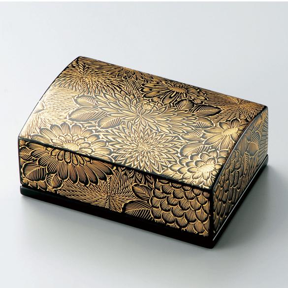 名刺箱 沈金菊彫 小 黒 【送料無料】 木製 漆塗り 名刺入れ・名刺ケース