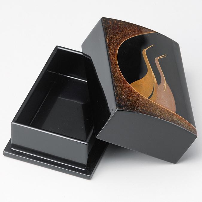 名刺箱 夫婦鶴 小 黒 【送料無料】 木製 漆塗り 名刺入れ・名刺ケース