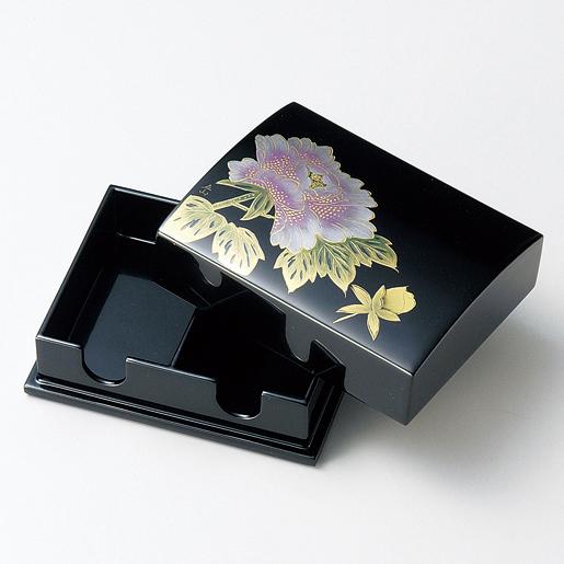 名刺箱 沈金富貴 大 黒 【送料無料】 木製 漆塗り 名刺入れ・名刺ケース