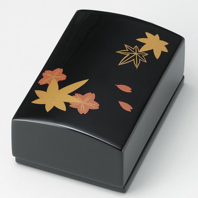名刺箱 春秋 小 黒 【送料無料】 木製 漆塗り 名刺入れ・名刺ケース