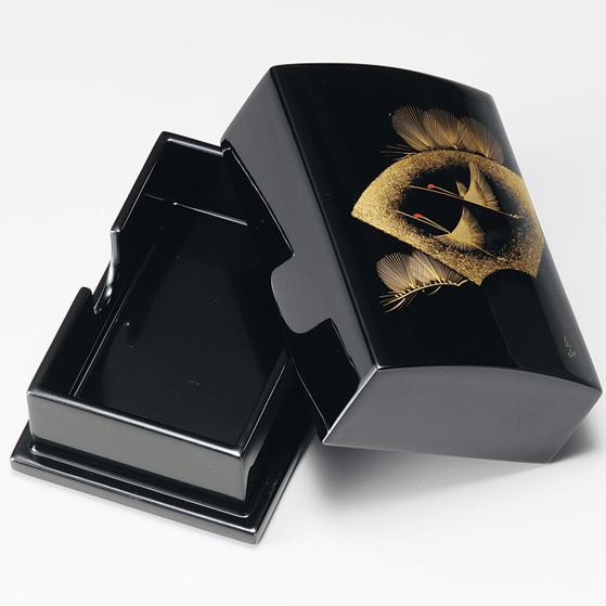 名刺箱 扇面松に鶴 小 黒 【送料無料】 木製 漆塗り 名刺入れ・名刺ケース