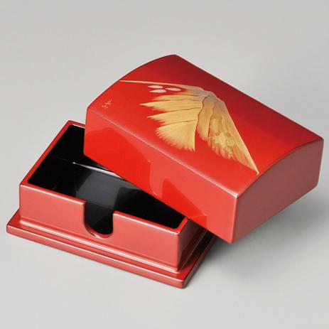 名刺箱 金富士 小 古代朱 【送料無料】 木製 漆塗り 名刺入れ・名刺ケース