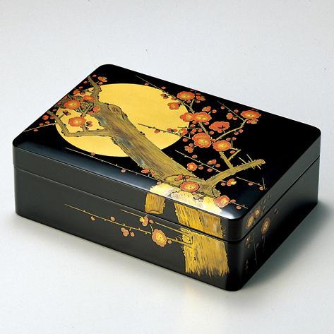 合口文庫 月に紅梅 黒 【送料無料】 漆塗り・木製