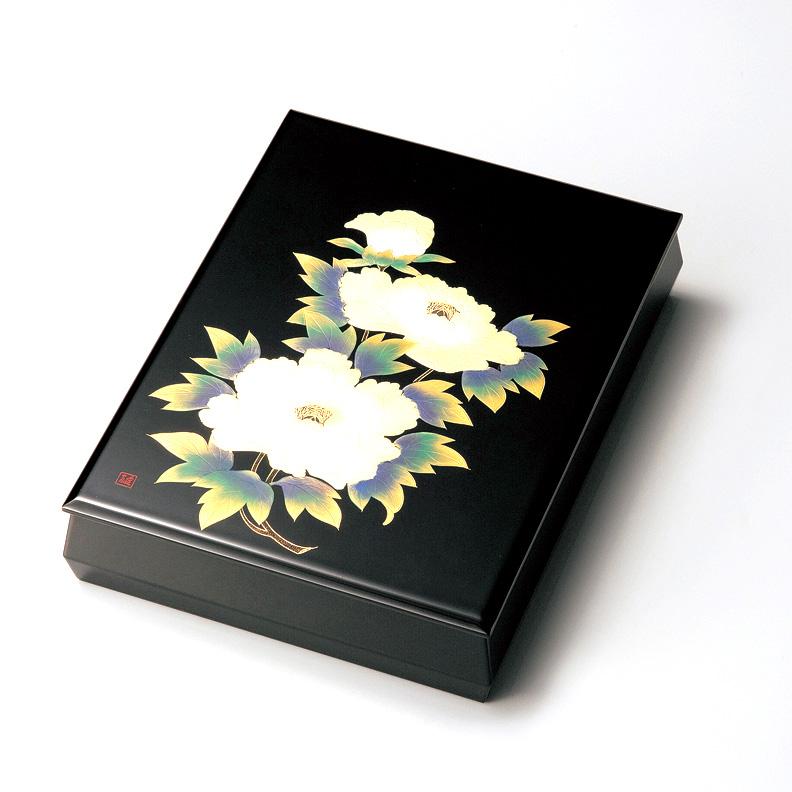牡丹沈金 板蓋文庫  【送料無料】 漆塗り・木製
