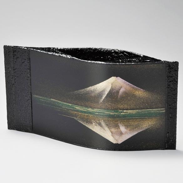 花活け 静寂の富士 【送料無料】 漆塗り・木製