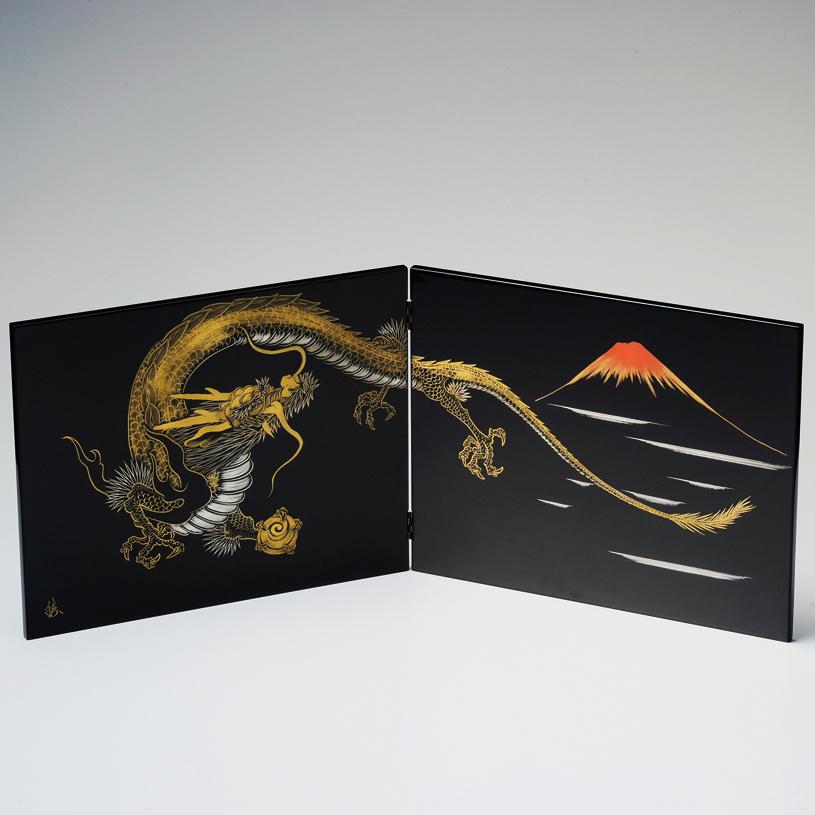 二枚屏風 龍 黒 【送料無料】 漆塗り・木製
