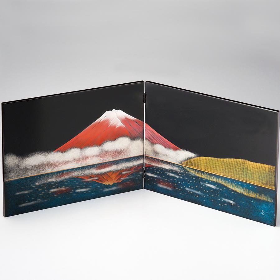 二枚屏風 立山彫富士山 黒 【送料無料】 漆塗り・木製