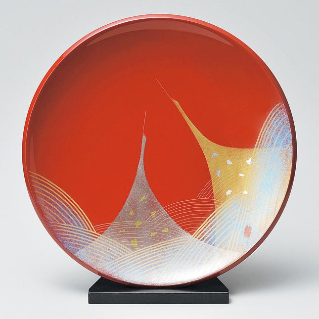 飾り皿 朱 二羽鶴 【送料無料】 木製 漆塗り 絵皿 インテリア 京都 漆器の井助