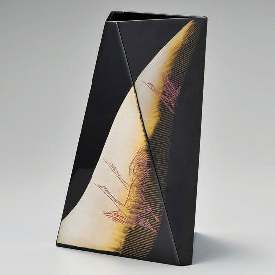 花器 鶴 黒 【送料無料】 漆塗り・木製