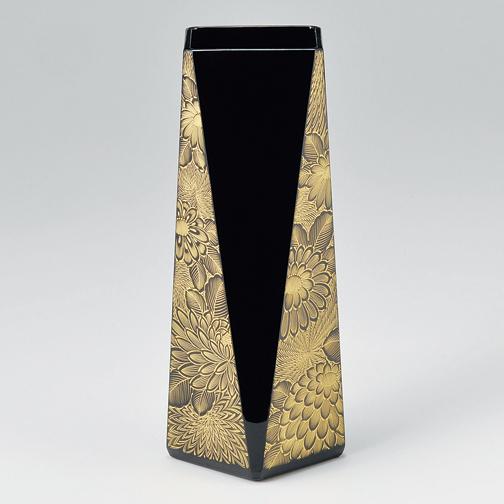 花器 菊彫 黒 【送料無料】 漆塗り・木製