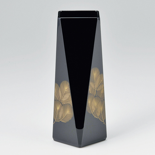 花器 沈金松 黒 【送料無料】 漆塗り・木製